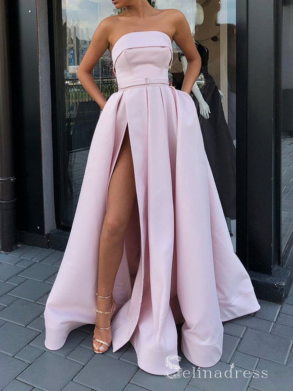 Chic A-line Strapless Pink Long Prom Dresses Satin Evening Dress CBD211