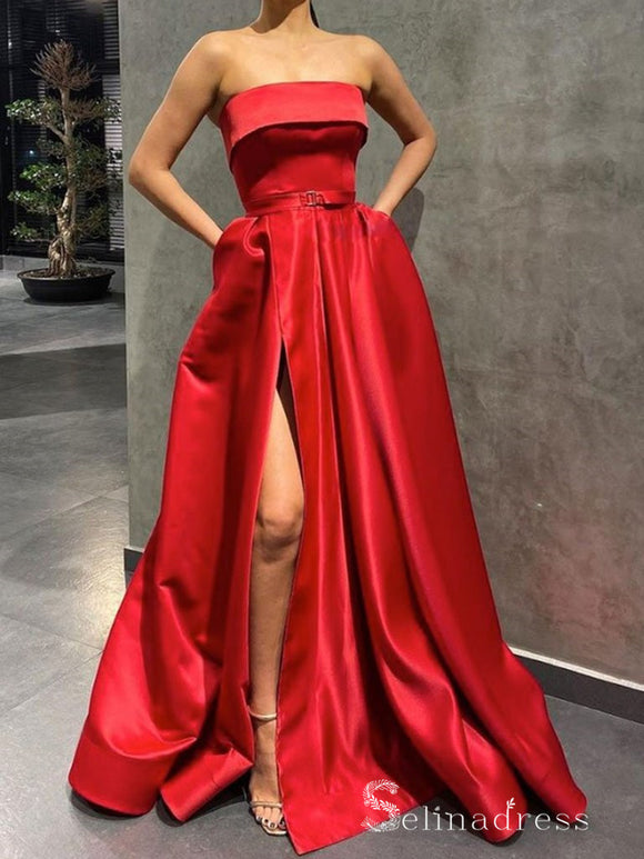 Chic A-line Strapless Red Long Prom Dresses Cheap Evening Dress CBD246