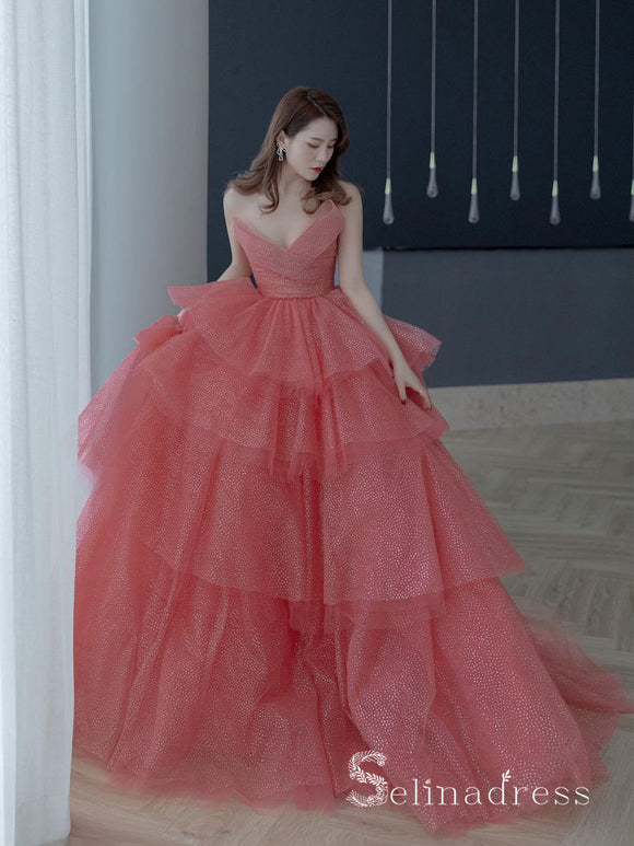 Chic Ball Gown Strapless V neck Sparkly Long Prom Dresses Evening Formal Gowns CBD290|Selinadress