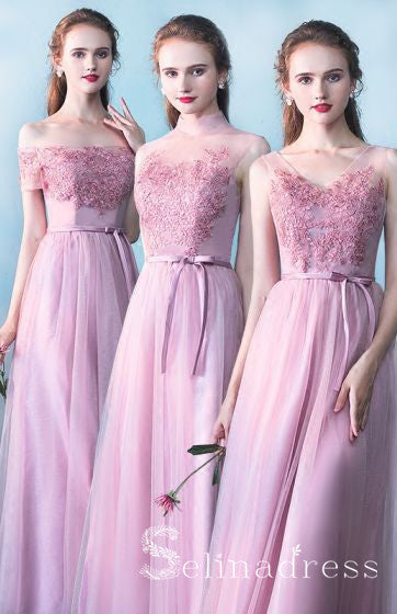 Chic Beautiful Bridesmaid Dresses Princess Lace Bow Ankle Length Bridesmaid Wedding Party Dresses BRK008|Selinadress