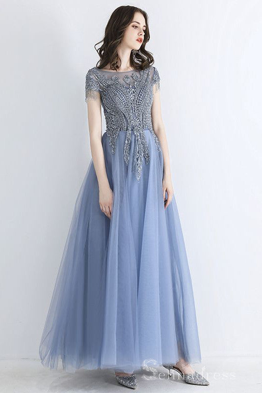 Chic Beautiful Square Neckline Long Prom Dresses Beading Long Formal Dresses #SED203 | Selinadress