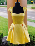 Chic Cap Sleeve Yellow Satin Cute Homecoming Dress With Pockets #MHL075