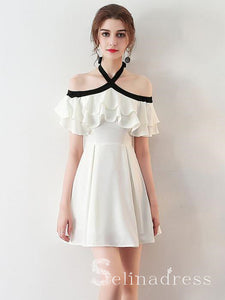 Chic Halter Homecoming Dress Simple White Cheap Short Prom Dress HML009|Selinadress