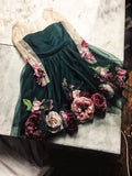 Chic Hand-Made Flower Cute Homecoming Dresses Long Sleeve Short Prom Dress MHL040|Selinadress