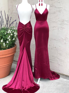 Chic Mermaid Spaghetti Straps Long Prom Dresses Open Back Sexy Evening Dress CBD034