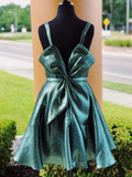 Chic Scoop Greeen Glitter Tulle Cute Bow Back Homecoming Dress #MHL078