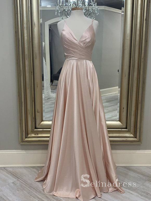 Chic  Spaghetti Straps Blush Pink Long Prom Dresses Cheap Formal Gowns CBD055