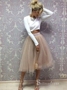 Chic Two Pieces Scoop Long Sleeve Homecoming Dress White Short Prom Dresses MHL041|Selinadress