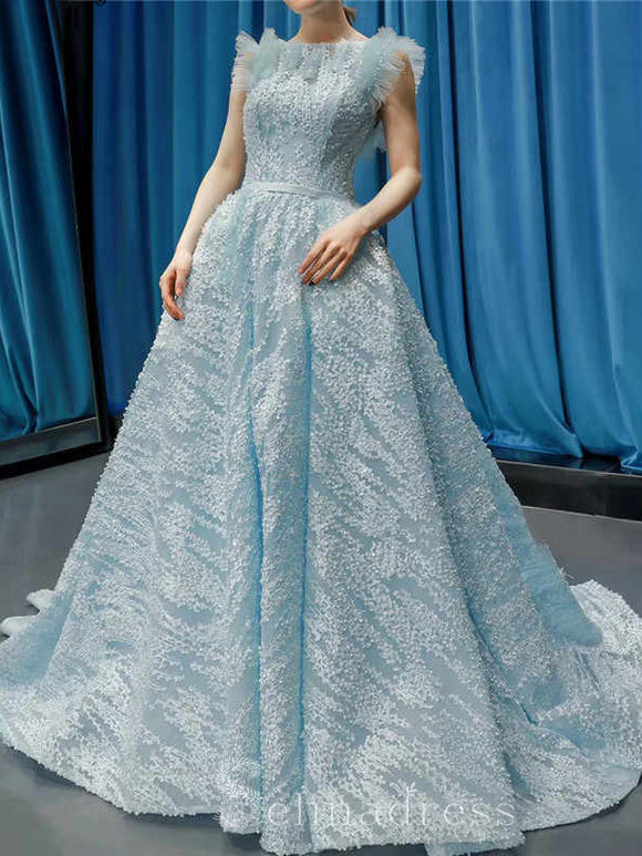 Custom Made Blue Bateau Neck Formal Gowns Sleeveless Handmade Flowers Evening Gowns #SED212