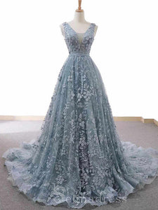 Custom Made V neck Dusty Blue Long Formal Gowns Sleeveless Evening Gowns With Floral Lace #SED213