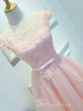 Cute Scoop Neck Short Ptom Dress With Cap Sleeve Blushing Pink Homecoming Dresses MHL039