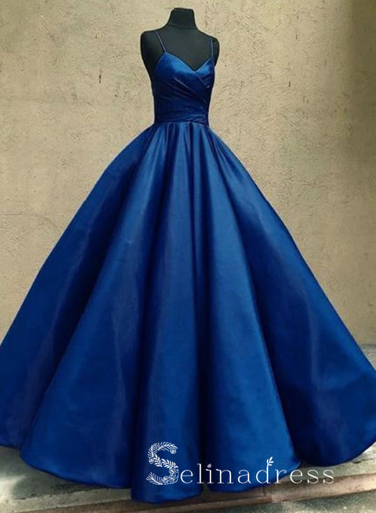 Dark Blue Prom Dresses Ball Gown Spaghetti Straps Long Prom Gown Evening Dress SED138|Selinadress