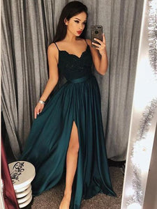 Dark Green Spaghetti Straps Chic Lace A line Prom Dresses  Long Formal Dress Evening Gowns SE006