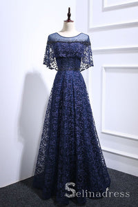 Dark Navy A-line Floral Lace Long Beaded Prom Dress Long Formal Evening Gowns SED050|Selinadress