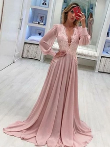 Deep V Neck Long Sleeve Prom Dresses A Line Chiffon Pink Prom Dress Long Evening Dress #SED196 | Selinadress