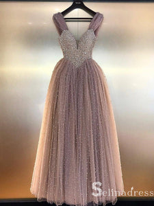 Dusty Pink Sparkly Long Prom Dresses Beaded Tulle Princess Formal Gowns Evening Dress SED020|Selinadress