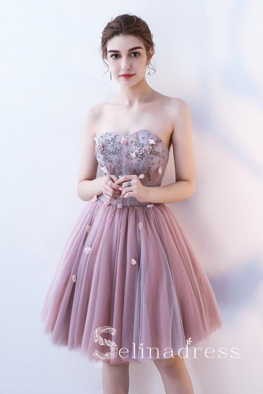 Dusty Pink Strapless Cute Short Homecoming Dresses Cocktail Dress MHL032