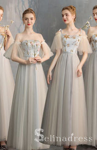 Elegant Champagne Grey Bridesmaid Dresses Cheap Princess Star Sequins Long Wedding Party Dresses BRK012|Selinadress