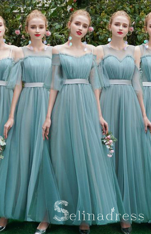 Elegant Jade Green Cheap Bridesmaid Dresses Custom A-Line Princess Sash BRK001