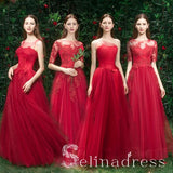 Elegant Red Bridesmaid Dresses A-Line Lace Beading Long Princess Wedding Party Dresses BRK011|Selinadress