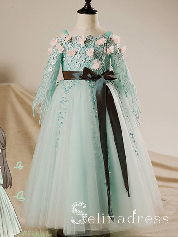 Long Sleeves Mint Tulle A-line Lace Flower Girl Dress With Sash GRS004|Selinadress