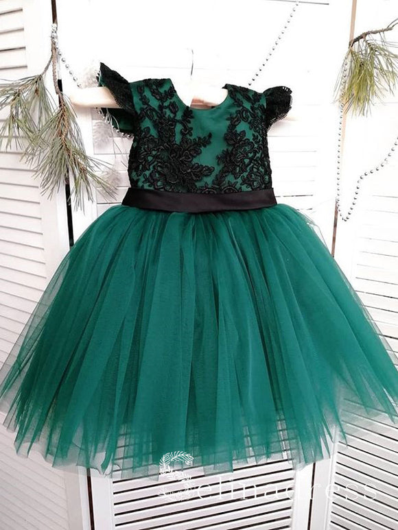 Cute Pretty Black Lace Green Wedding Little Girl Flower Girl Dresses GRS013|Selinadress