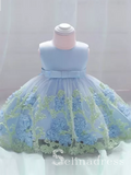 Light Sky Blue Lovely Big Bow Modest Wedding Little Girl Flower Girl Dresses GRS007|Selinadress