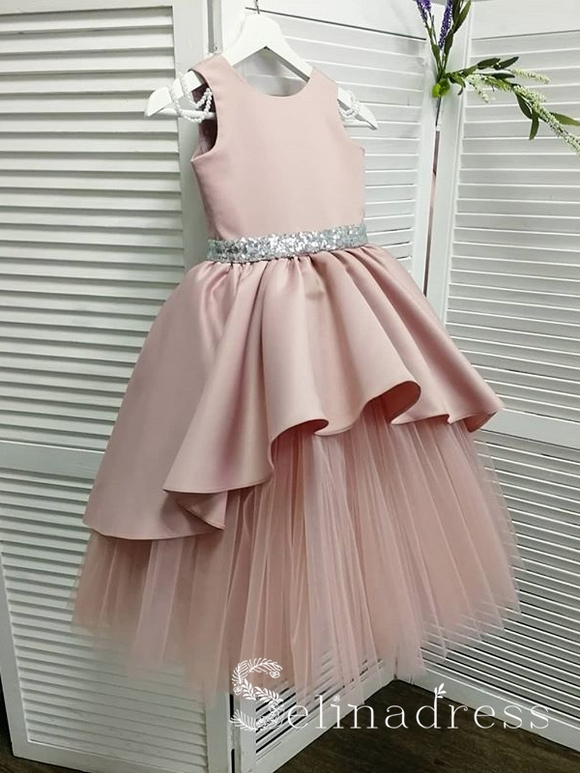 Lovely Pink Beautiful Cheap Weding Little Girl Flower Girl Dresses GRS009|Selinadress