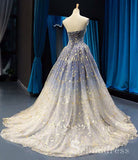 Gorgeous Sparkly Blue Prom Dresses Ball Gown Strapless Long Formal Evening Gowns SED116|Selinadress