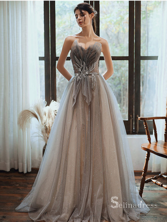 Gorgeous Strapless Long Prom Dresses Beaded Silver Formal Dresses SC007