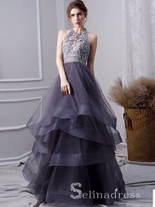 Grey Tulle 3D Flowers Backless Beading High Neck Long Prom Dress Evening Gowns SED046