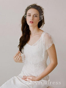 Ivory Mesh Birdcage Veils with Tiny Beads ALC015