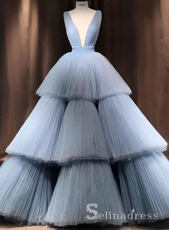 Light Sky Blue Deep V neck Tulle Long Prom Dress Cheap Formal Evening Dress SED126|Selinadress