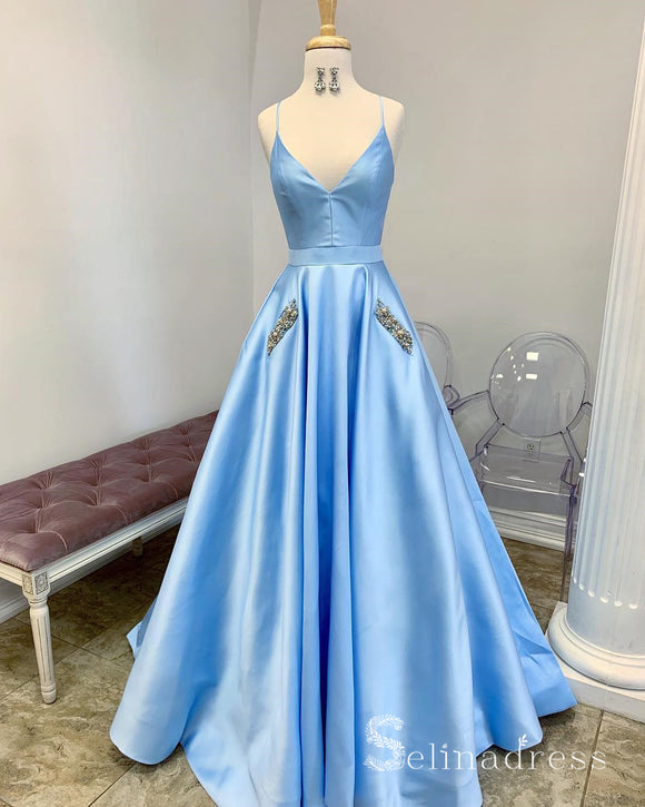 Light Sky Blue Spaghetti Straps Long Prom Dresses Beaded Pocket Evening Gowns SED026|Selinadress