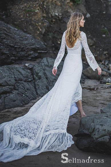 Long Sleeve Beach Wedding Dresses Chapel Train Romantic Lace Bridal Gown SEW038|Selinadress