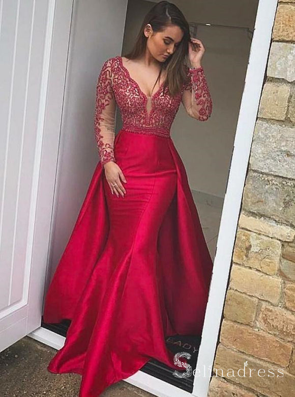 Long Sleeve Mermaid Prom Dresses Long Red Lace Gorgeous Formal Gowns SED016