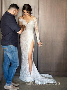 Long Sleeve Two Pieces Sexy Wedding Dresses Sheath/Column Split Bridal Gown SEW009|Selinadress