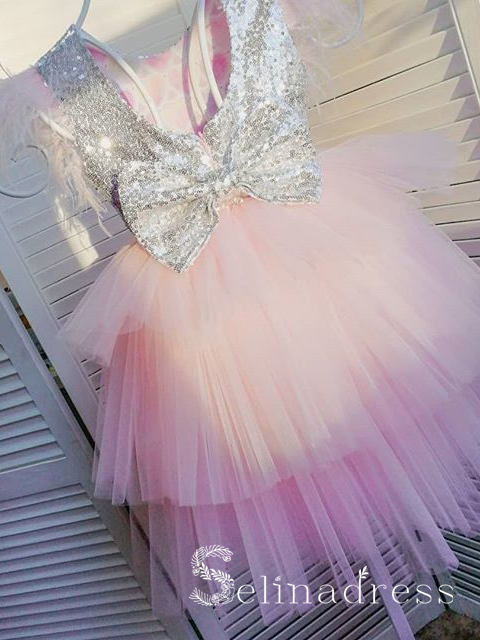 Lovely Pretty Pink Sequins Cheap Wedding Little Girl Flower Girl Dresses GRS016|Selinadress