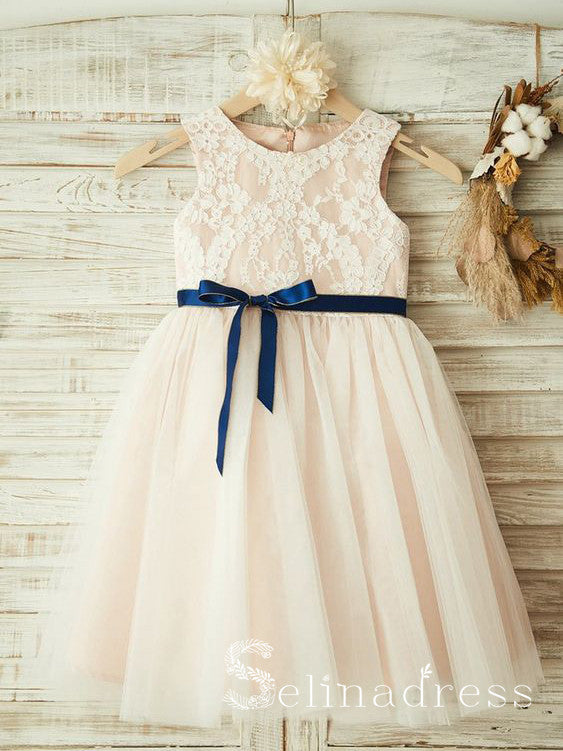 Lovely Pretty Scoop Neck Lace Cheap Wedding Little Girl Flower Girl Dresses GRS023|Selinadress