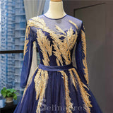 Luxury Navy Blue Long Sleeves Evening Dresses Beading Scoop Neck Formal Gowns #SED216