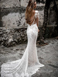 Mermaid Backless Long Sleeves Special Lace Floral Appliqued Illusion Wedding Dress SDL018