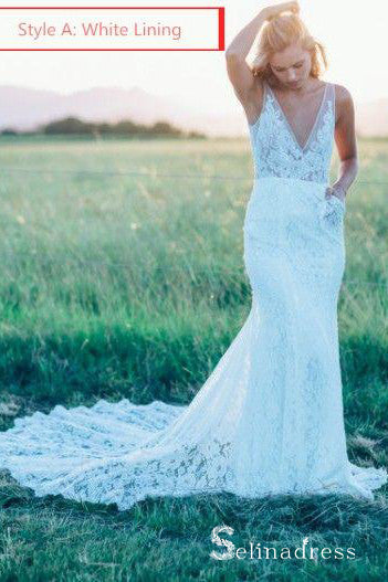Mermaid Beach Wedding Dresses V-neck Sweep Train Rustic Lace Bridal Gown SEW029|Selinadress