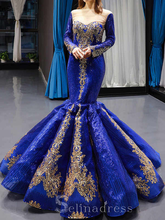 Mermaid Custom Made Sequined Formal Dresses Removable Long Sleeves Luxury Bridal Gowns #SED211