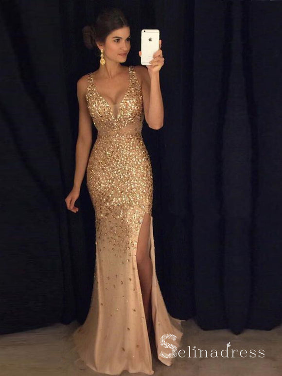 Mermaid Gold Sparkly Long Prom Dresses Beaded Formal Dress Silt Sexy Evening Dress SED029