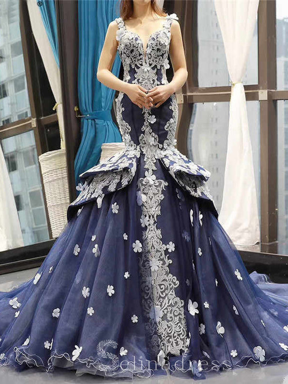 Mermaid Navy Blue V neck Handmade Flowers Applique Formal Gowns Evening Dress Dresses #SED214