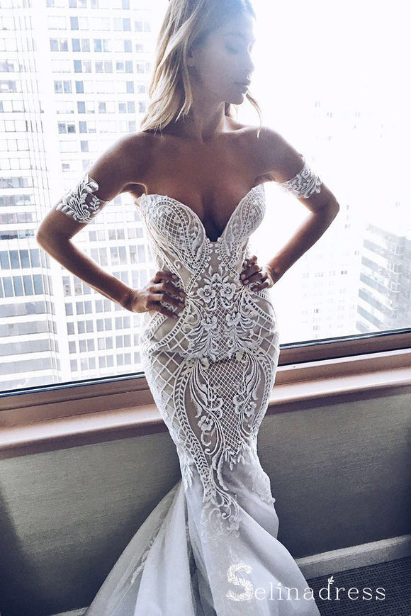 Mermaid Off-the-shoulder Sexy Wedding Dresses Sweep Train Bridal Gown SEW041|Selinadress