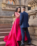 Mermaid Red Long Prom Dresses Long Sleeve Lace Sweep Train Evening Dress Formal Gowns SED027|Selinadress