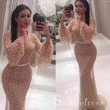 Mermaid Scoop Long Prom Dress With Sleeve Beaded Champagne Formal Gowns Evening Dress SED105B