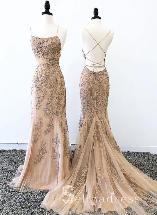 Mermaid Spaghetti Straps Lace Long Prom Dress Appliqued Backless Evening Dress SED139