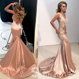 Mermaid Spaghetti Straps Lace Prom Dress Open Back Sexy Long Formal Evening Gowns SED136|Selinadress